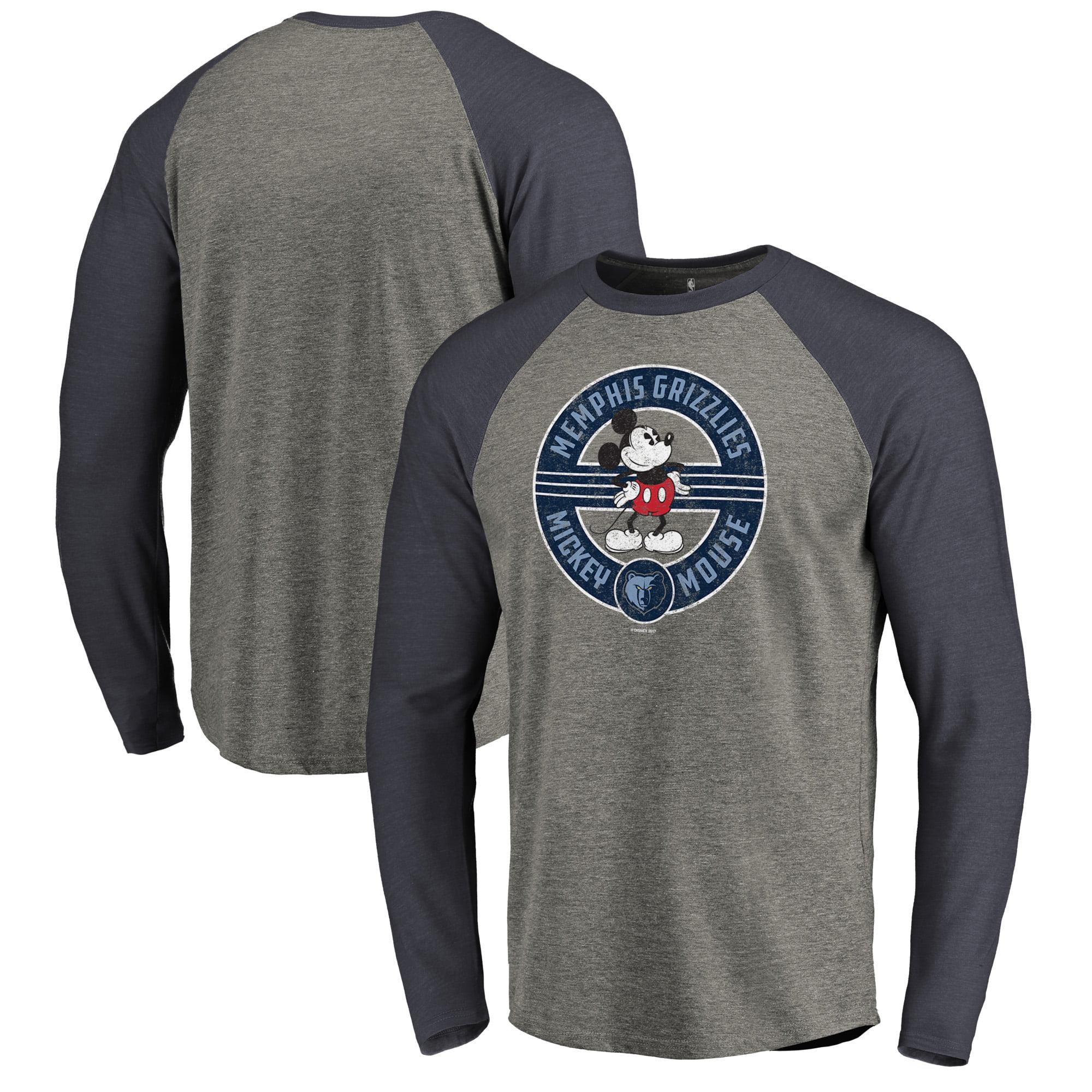 Memphis Grizzlies Fanatics Branded Disney Mickey's True Original Seal Raglan Tri-Blend Long Sleeve T-Shirt - Heathered Gray/Navy