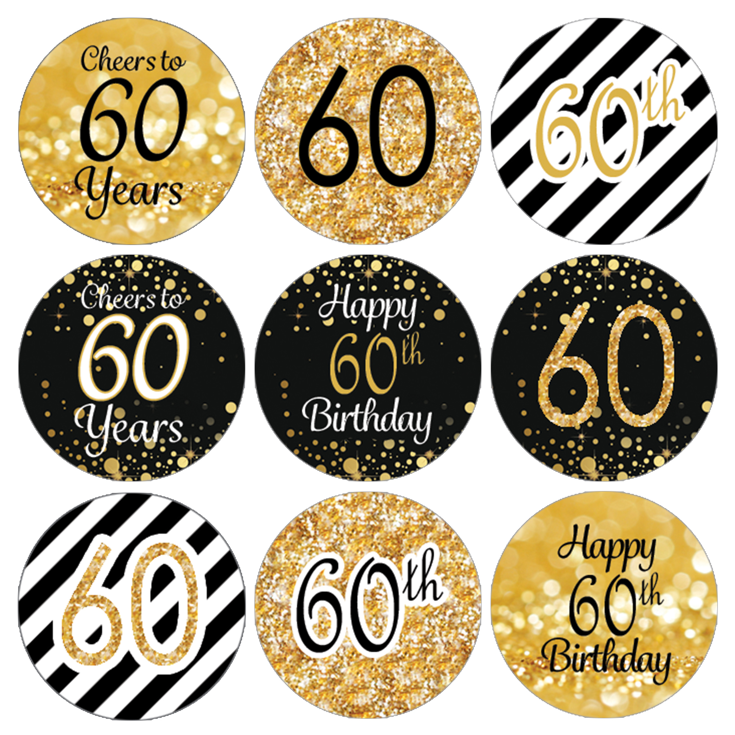 60th Birthday Party Favor Stickers   216 Labels   Black and Gold Decoration Supplies