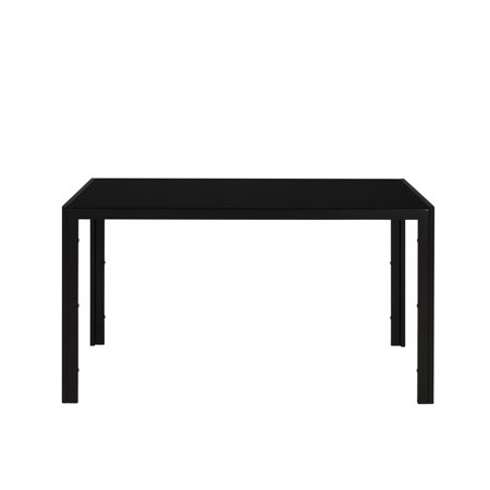 Mainstays Parsons Black Glass Top Metal Frame Dining Table