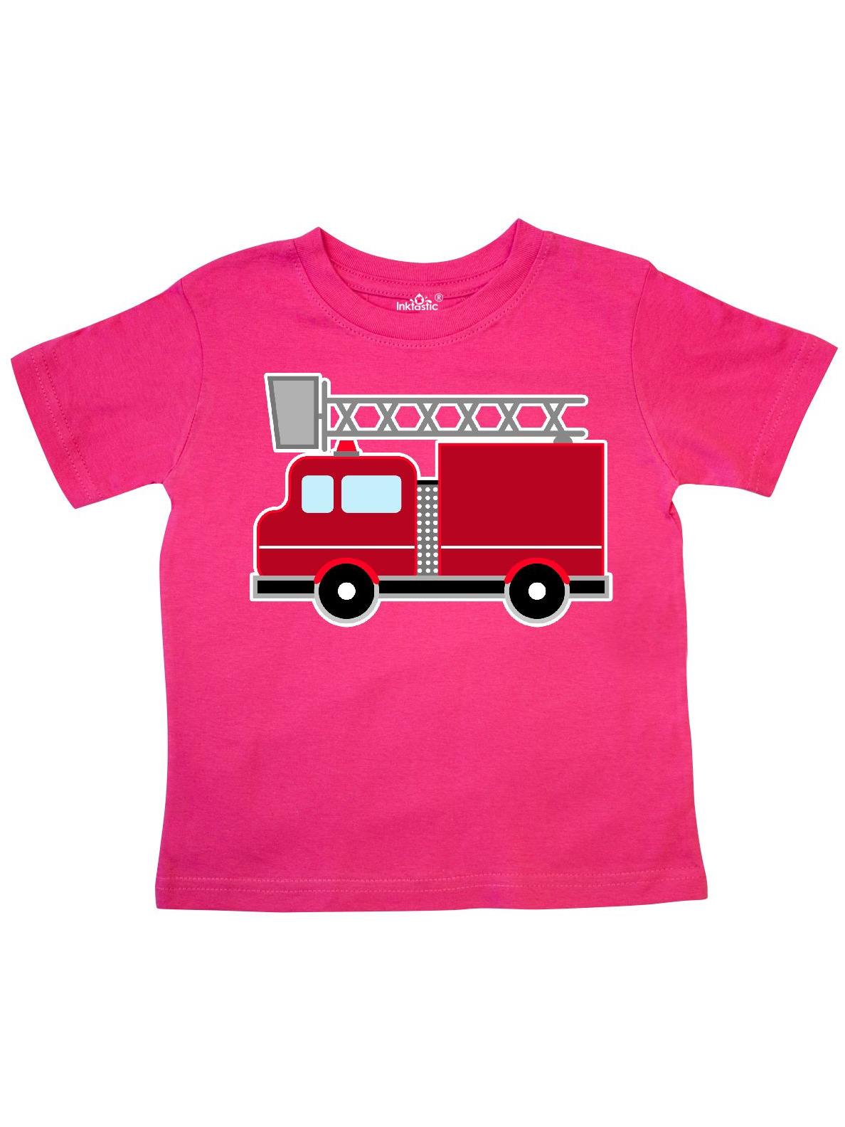 red firefighter fire truck Toddler T-Shirt
