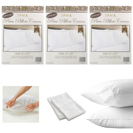 6 White Hotel Pillow Plastic Cover Case Waterproof Zipper Protector Bed 21 X 27 ()