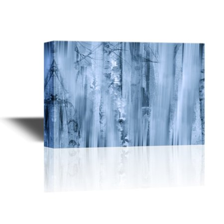 Mist Wrap (wall26 Canvas Wall Art - Abstract Landscape Artwork with Birch Trees in Mist - Gallery Wrap Modern Home Decor   Ready to Hang - 24x36 inches )