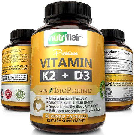 NutriFlair Vitamin K2 (MK7) + D3 5000 IU Supplement with BioPerine Black Pepper - Supports Stronger Bones, Heart Health & Immune System, 90 Veggie