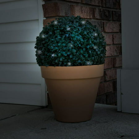 Solar Powered LED Artificial Topiary Ball – Decorative Prelit Faux Potted Boxwood with Rechargeable Battery for Outdoor Use by Pure Garden