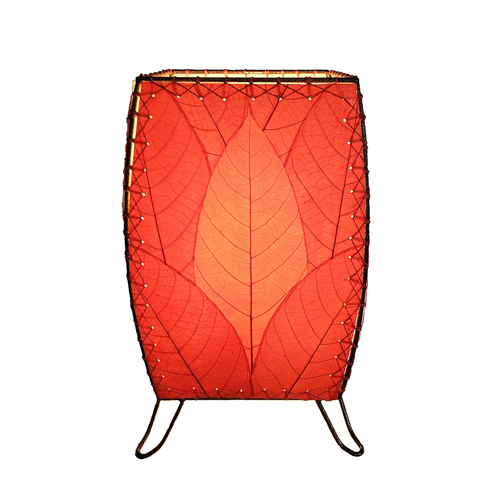 Eangee Home Design Indoor Outdoor Fossilized Cocoa Leaves Cube Red Table Lamp
