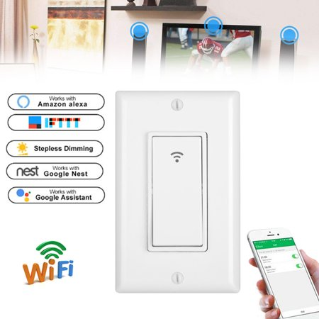Wall Switch, Wi-Fi Smart Switch Timer Remote Control Sensor, Wall Switch Work with Amazon Alexas Google Home APP Control( voice control, mobile APP three-in-one multi-function control)