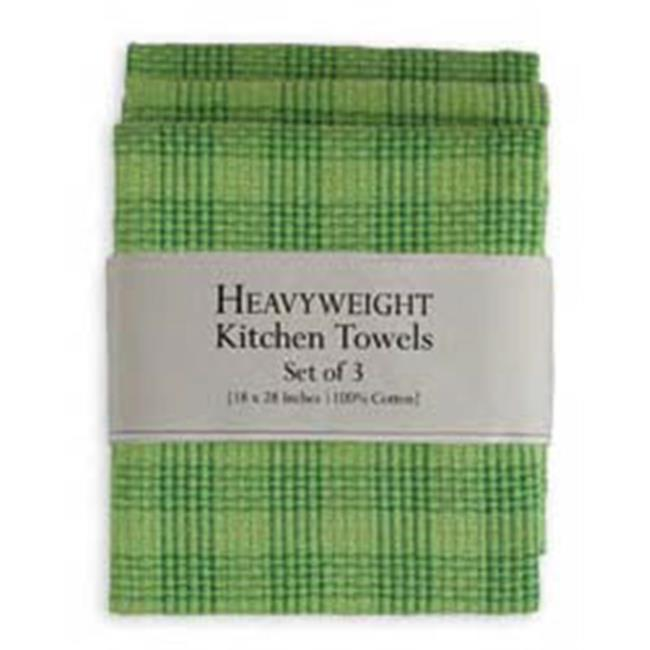 6 Piece Grass Green Plaid Heavyweight Dishtowel Dishcloth Set