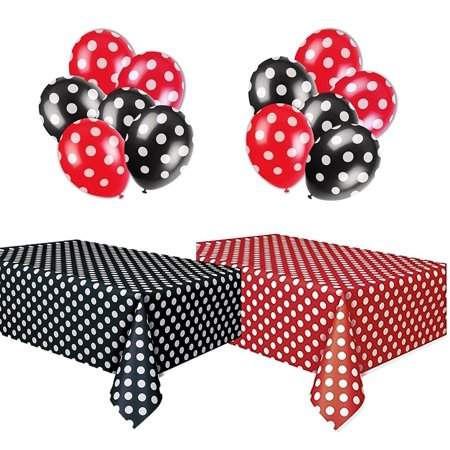 Polka Dot Plastic Tablecloth Red & White and Black & White, and Two Packages of Polkadot Balloons