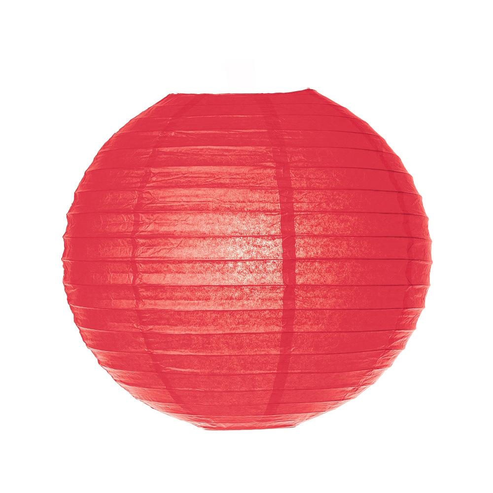 Luna Bazaar Paper Lantern (30-Inch, Parallel Ribbing, Red ) - Rice Paper Chinese/Japanese Hanging Decoration