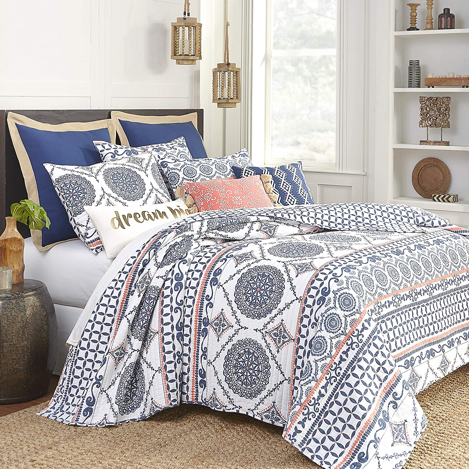 Levtex Home Caperoad Quilt Set King Quilt Two King Pillow Shams Medallion Geometric In Navy White Tangerine Quilt Size 106x92in And Pillow Sham Size 36x20in Reversible Cotton Walmart Com Walmart Com