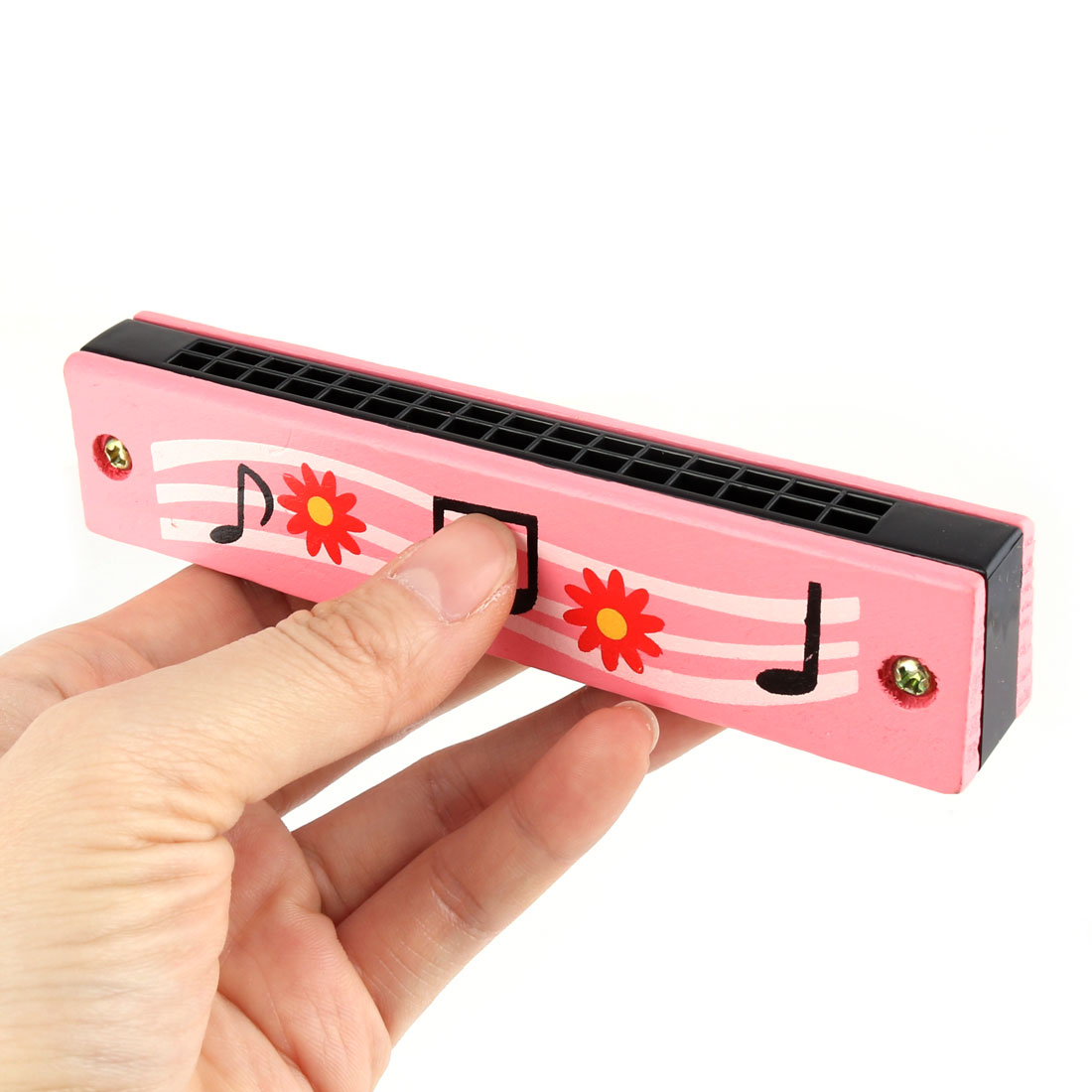 "5"" Wooden Harmonica Mouth Organ w 32 Holes Pink Floral Music Note Print Educational Toy for - image 2 de 3"