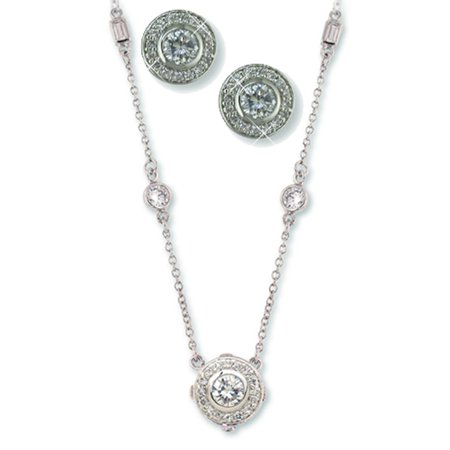 - Circle Crystal Pendant Necklace Set with Baguette Crystals