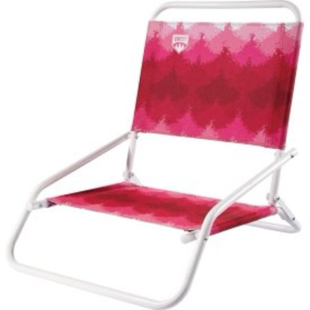 Beach Folding Chair Red White Low Profile Design For