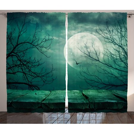 Apartment Balcony Halloween Decorations (The Holiday Aisle Halloween Decorations Scary Dark Night Scene from Rustic Wood Balcony at Twilight Evil Gothic Fog Graphic Print & Text Semi-Sheer Rod Pocket Curtain Panels (Set of)