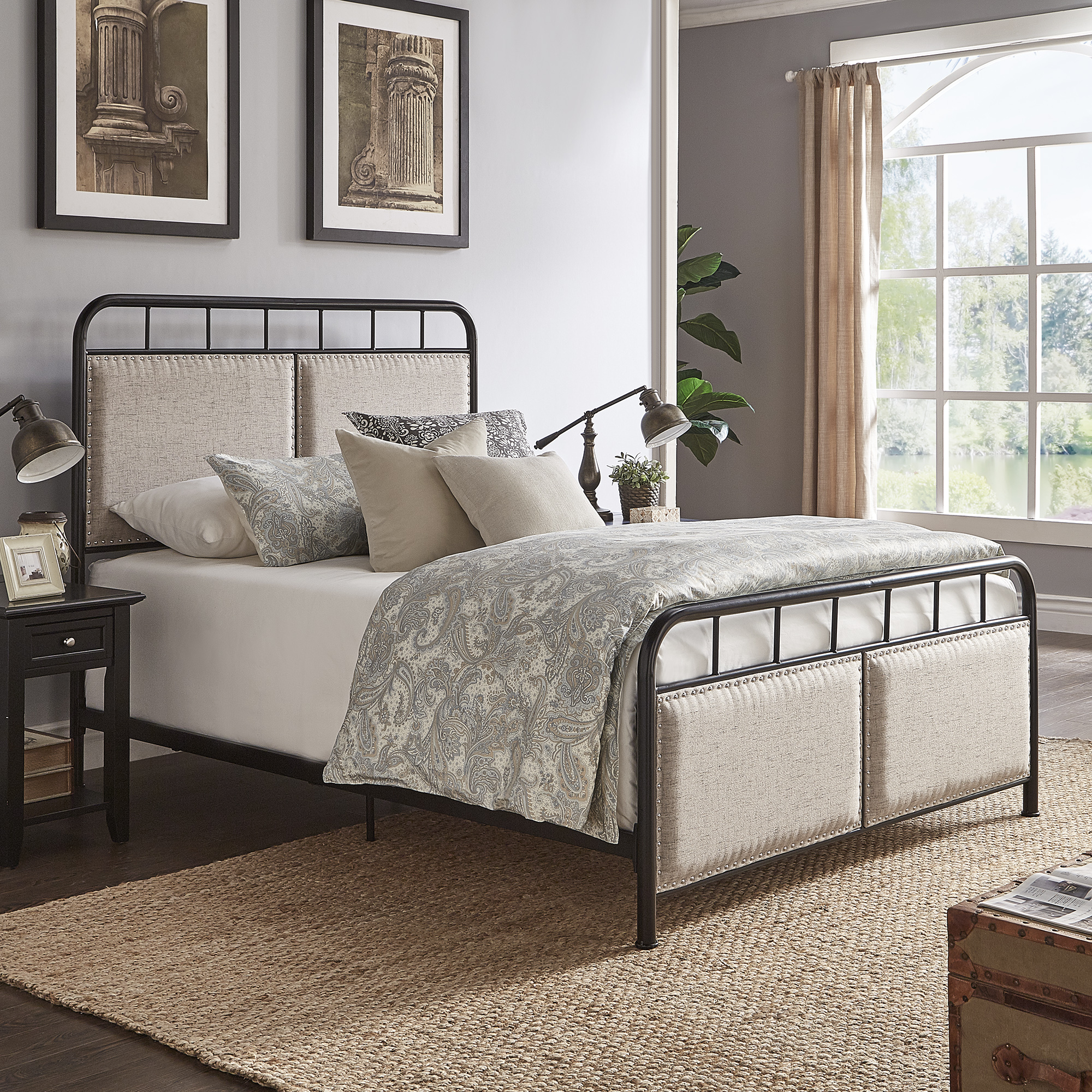 Weston Home Exton Black Metal Queen Bed With Beige Upholstered Headboard and Footboard