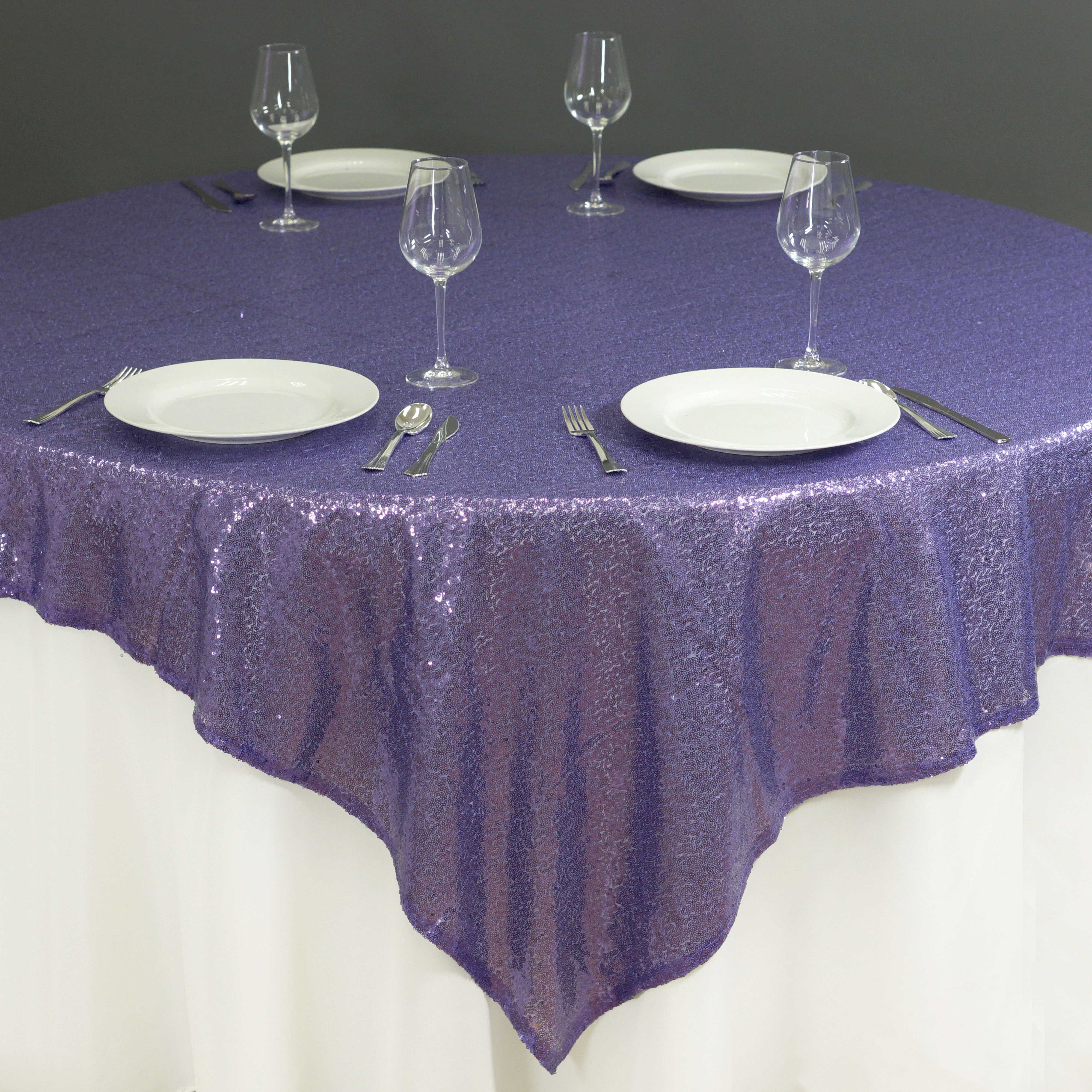 """BalsaCircle 90"""" x 90"""" Square Sequined Table Overlays - Wedding Party Reception Catering Linens Dinner Banquet Event Decorations"""