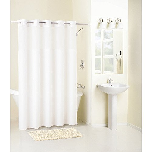 Mainstays Hookless Mystery Fabric Shower Curtain White
