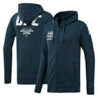 Reebok Navy UFC Fan Gear Logo Full Zip Hoodie