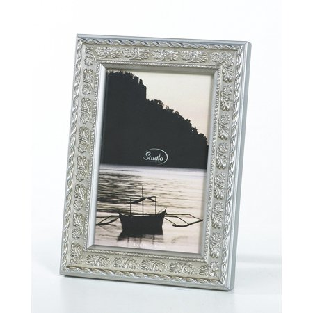 8x10 Silver Wooden Picture Photo Frame With Floral Barder Design Standing Horizontal or Vertical, Floral turns luxe in this stunning frame By Philip -