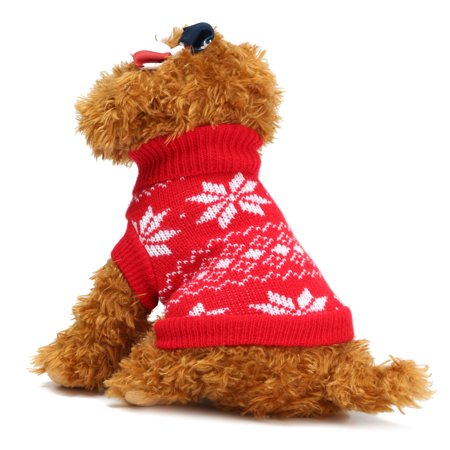 Christmas Pet Dog Puppy Snowflake Knit Sweater Hoody Clothes Costume  - Christmas Pet Costumes