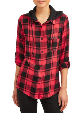 No Boundaries Juniors Plaid Hooded Tie Front Roll Sleeve Blouse