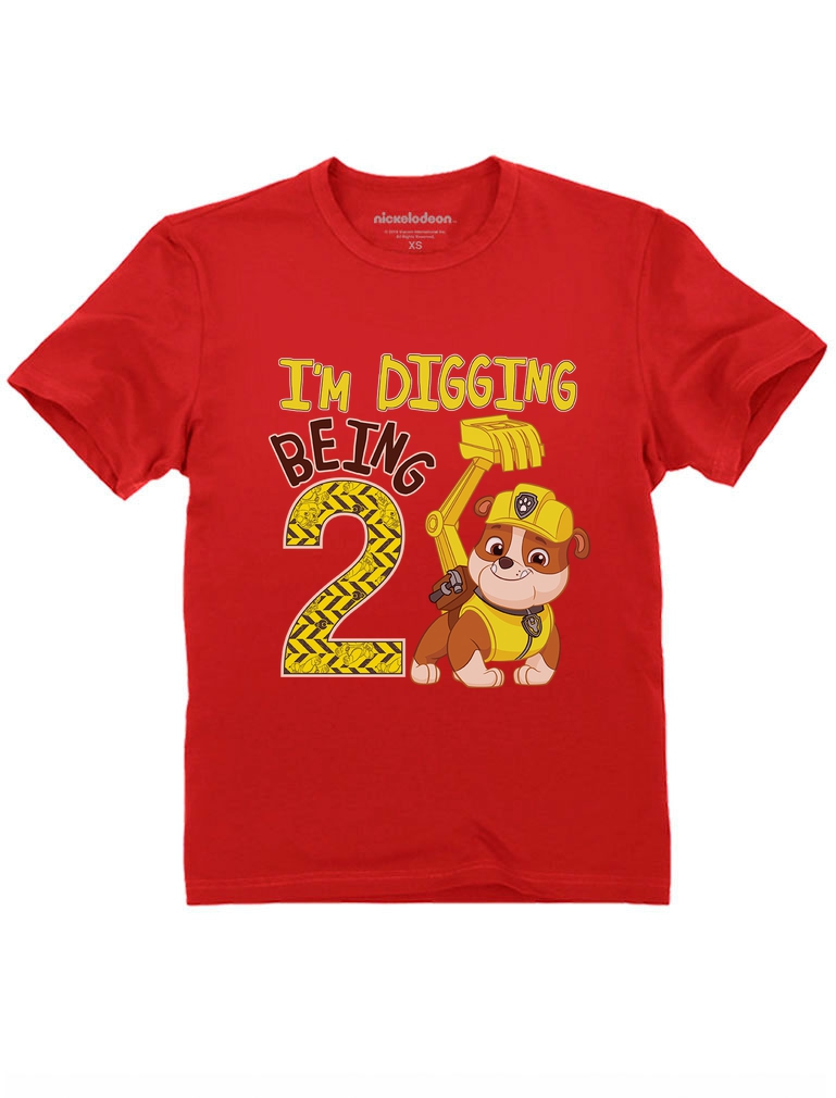 Paw Patrol Rubble Digging 3rd Birthday Official Toddler Kids T-Shirt Tstars