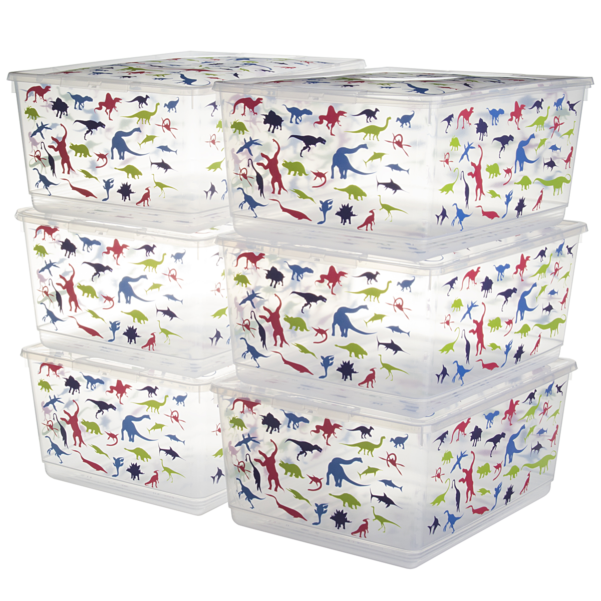 6 Pack KIS UrBin Large Plastic Storage Bins With Lids Home Organization Containers Stacking Clothing School Crafts