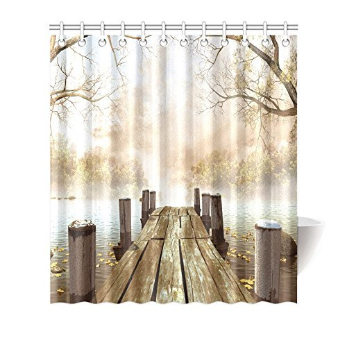 MYPOP Decor Fall Trees Wooden Bridge Foggy Lake Nature Country Rustic Home Art Paintings Pictures for Bathroom Seascape Decorations Shower Curtain 66 X 72 Inches, Brown Beige Khaki Yellow