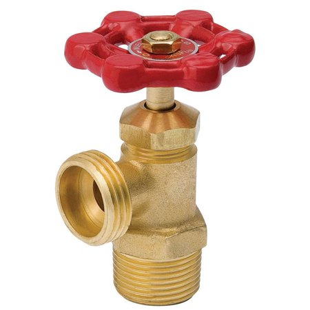 Mueller 102-004 Boiler Drain Valve, 3/4 in, MPT, 125 psi, Six Point Handle, Brass (Bv Two Handle Valve)