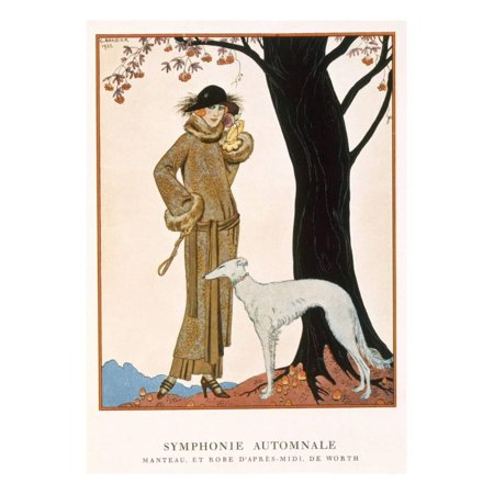 Autumnal Symphony, Afternoon Coat and Dress by Worth, from 'Gazette De Bon Ton' No.9, 1922 Print Wall Art By Georges Barbier - Afternoon Dresses