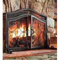 Large Crest Fireplace Fire Screen with Doors