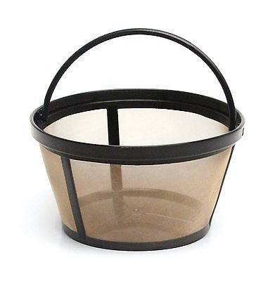 Click here to buy 10-12 Permanent Coffee Filter with Solid Bottom for Mr. Coffee Coffeemakers by GoldTone.