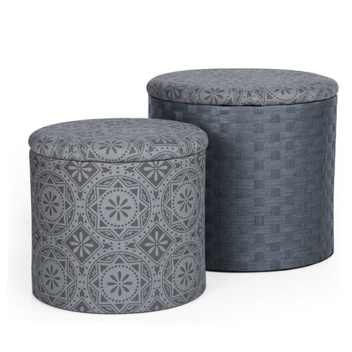 Image of Adeco 2 Piece Fabric Round Storage Ottoman - Dark Grey Print