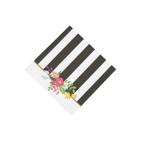 Fun Express - B/w Stripe Bridal Shower Bev Nap (16pc) for Wedding - Party Supplies - Print Tableware - Print Napkins - Wedding - 16 Pieces