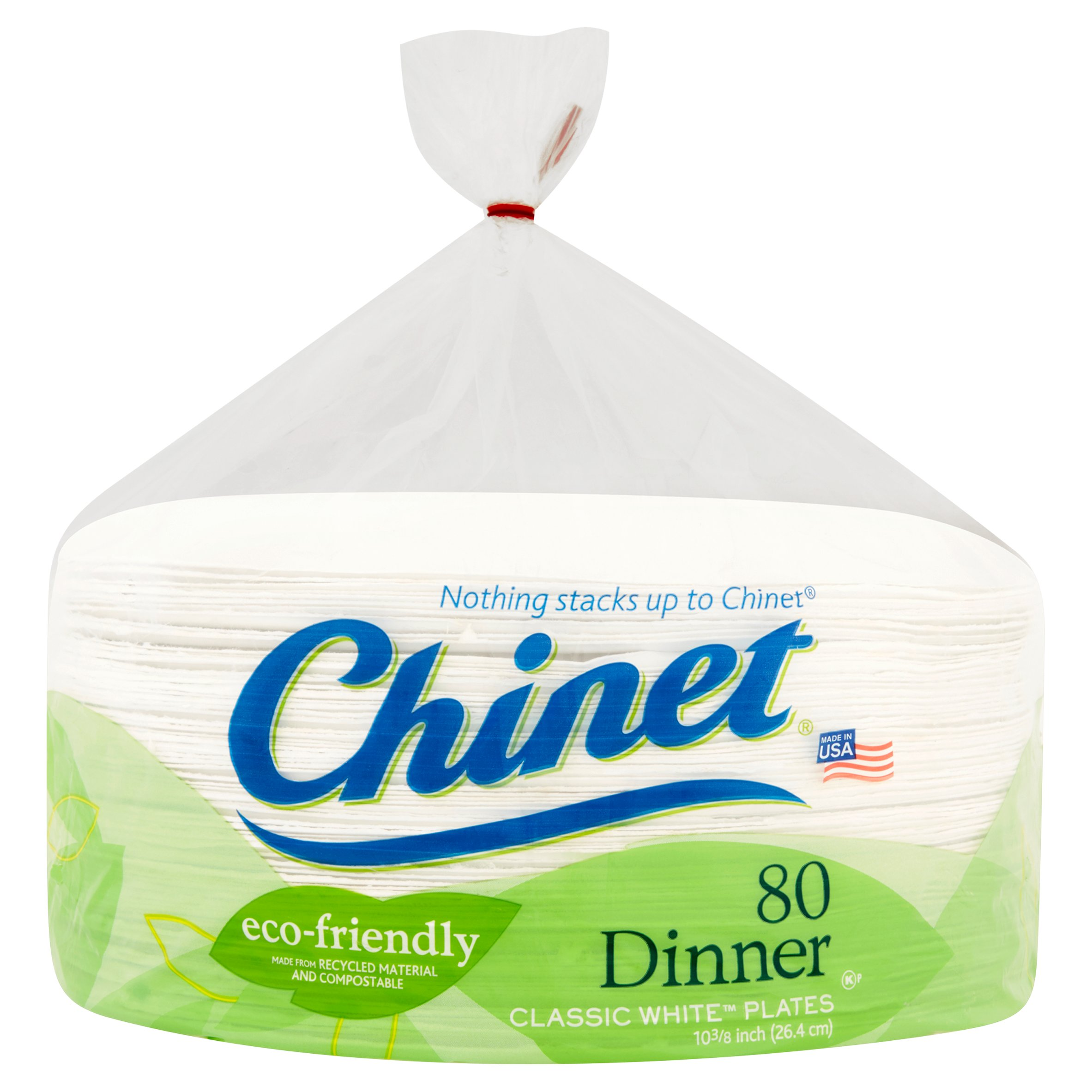 "Chinet Dinner Classic White Plates, 10 3/8"", 80 Count"