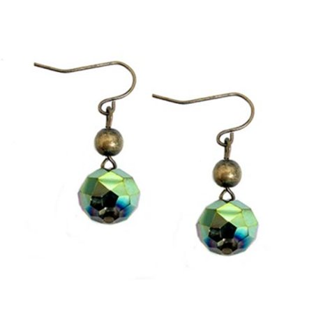 C Jewelry Sparkling Olive Rock Candy Gold Dangle Earrings