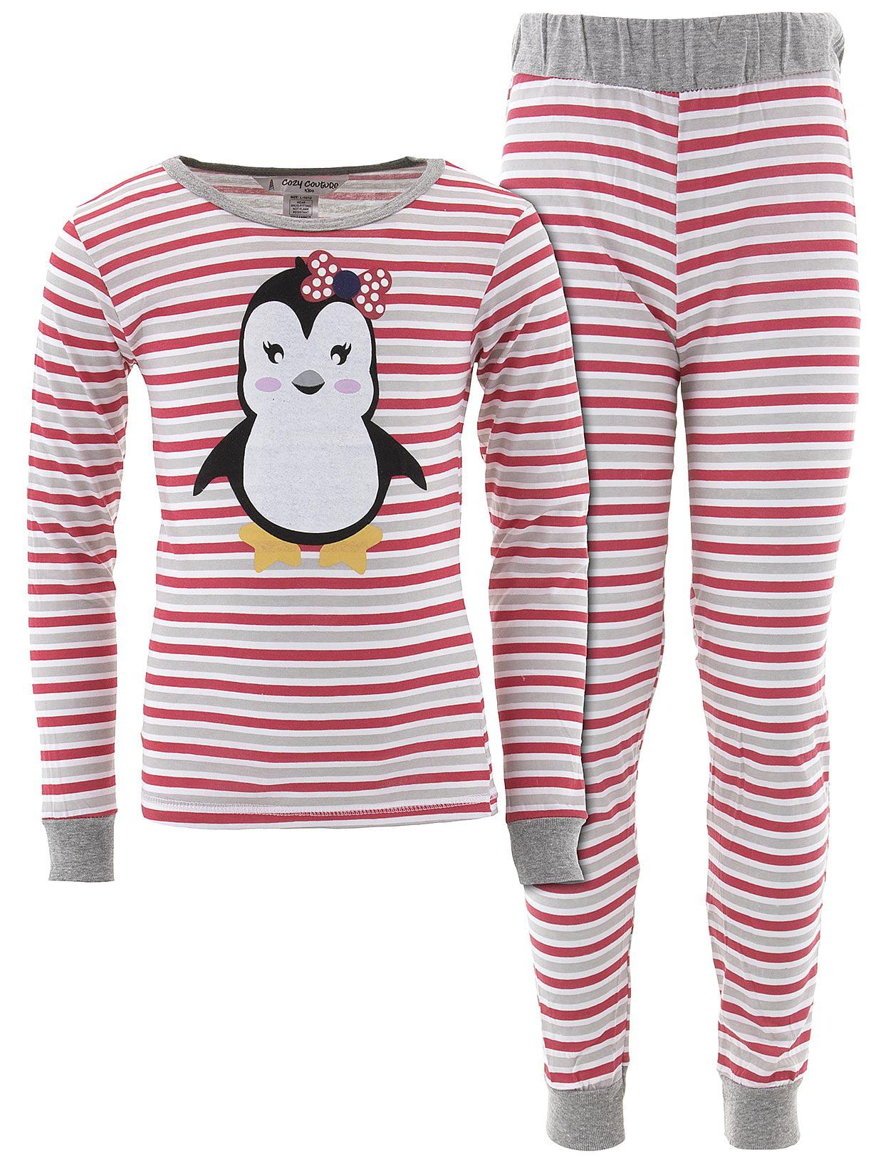 Cozy Couture Girls Penguin Striped Cotton Pajamas