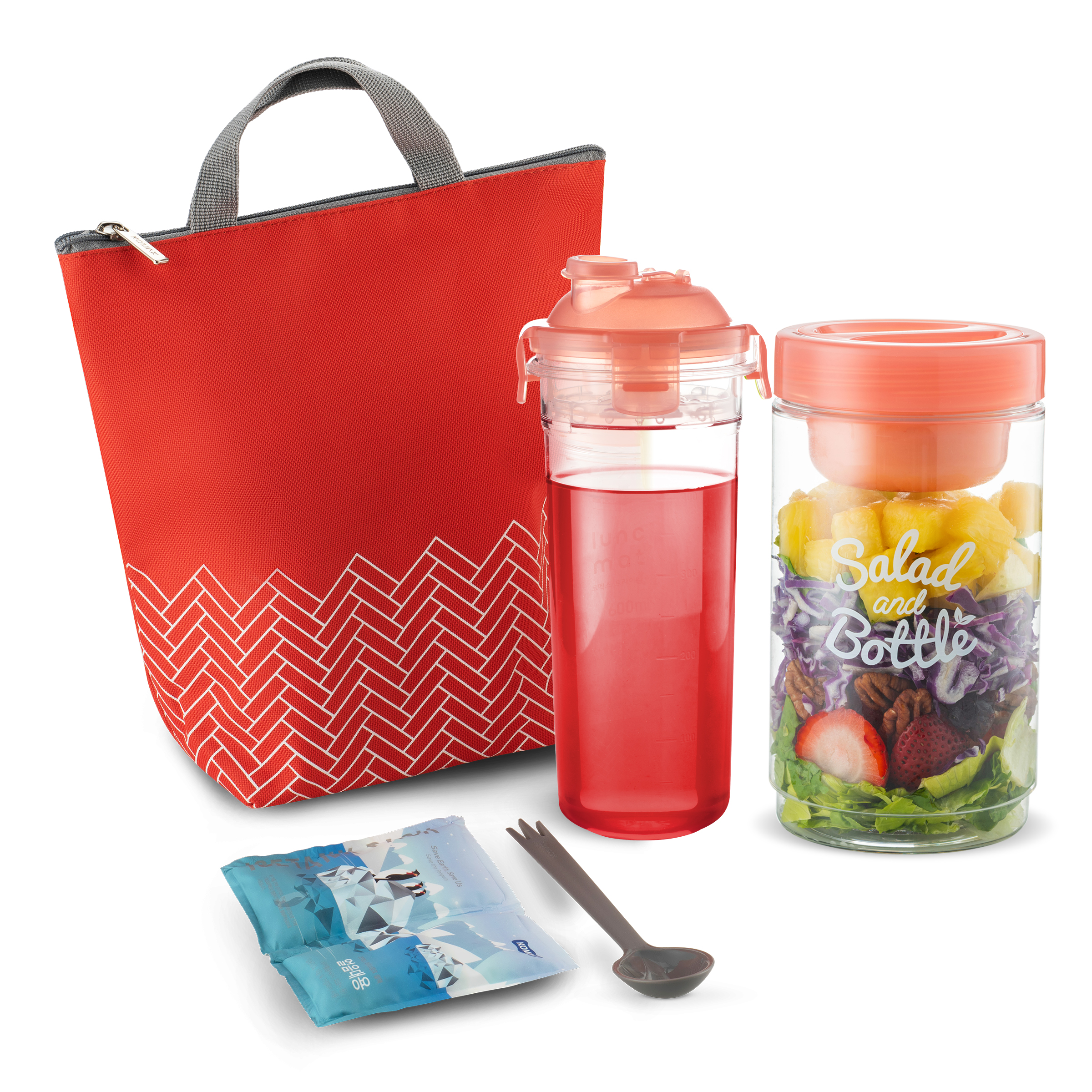 Komax Insulated Lunch Bag For Women - Cute Lunch Box Set - Waterproof Lunch Bag for Ladies (small), Reusable Salad Container (33-oz), Matching Water Bottle (20-oz), Utensils & Ice Pack - Red