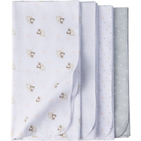 Gerber Newborn Baby Unisex Assorted Flannel Receiving Blanket, 4-Pack