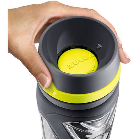 5e7934a481 zulu charge bpa-free plastic water bottle with 360 dial-a-flow lid,  grey/green, 24 oz - Walmart.com