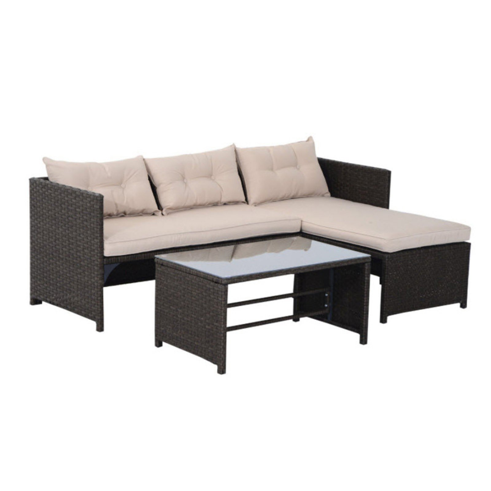 Outsunny Rattan Wicker 3 Piece Outdoor Conversation Set with