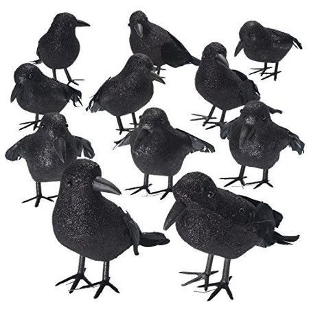 Shrocko Halloween Realistic Looking Feathered Crows  9 Pcs  Props For Home D Cor And Party Decoration Raven Birds
