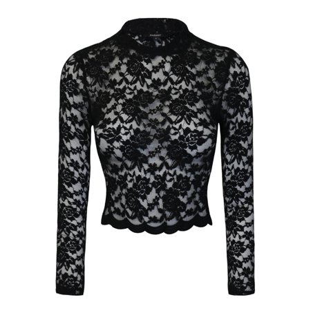 Black Floral Shirt - Made by Olivia Women's Sexy Floral Lace Long Sleeve Mock Neck Crop Top Black M