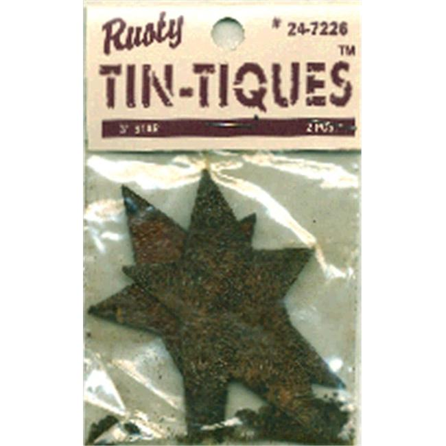 DCC 219359 Rusty Tin-Tiques Tin Cut-Outs-Star 3 inch 2-Pkg
