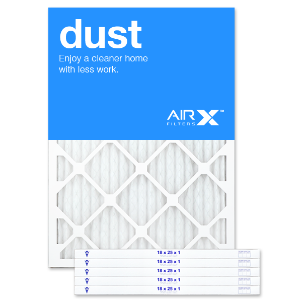 AIRx Filters Dust 18x25x1 Air Filter MERV 8 AC Furnace Pleated Air Filter Replacement Box of 6, Made in the USA