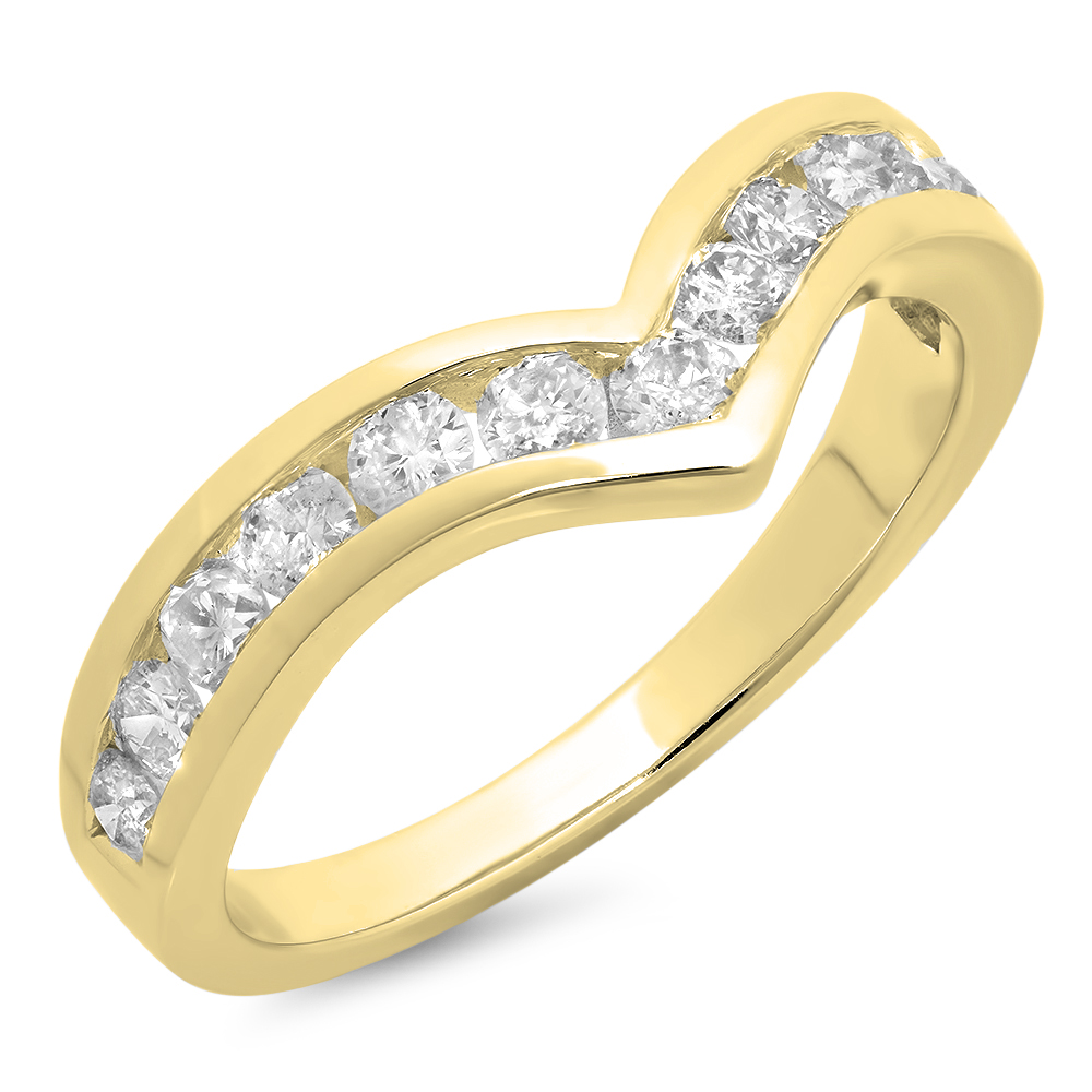 0.80 Carat (ctw) 10K Yellow Gold Round Real White Diamond Wedding Stackable Band Anniversary Guard Chevron Ring 3/4 CT
