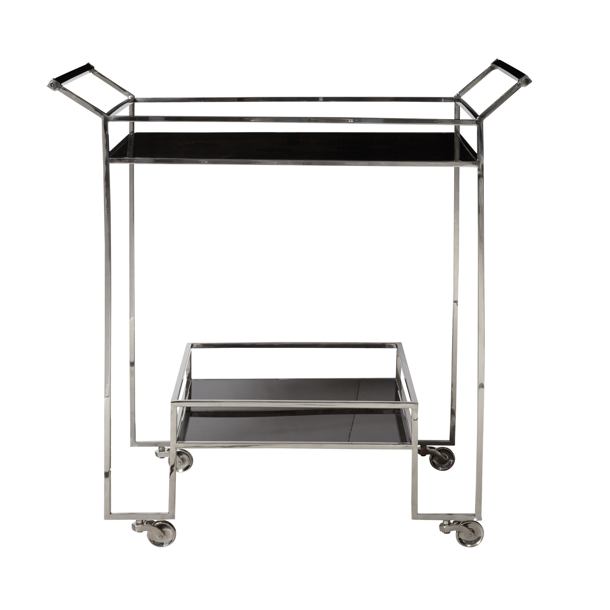 "Delacora HM-P020422 Naya 19-1/2"" Wide Steel Bar Cart with Acrylic Shelves"