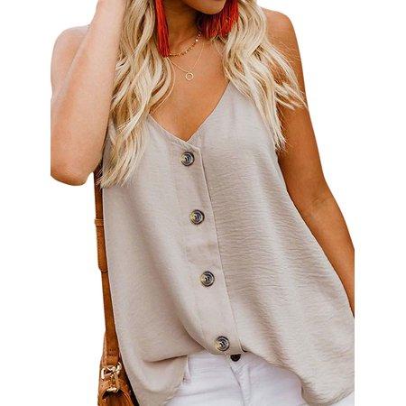 - STARVNC Women V Neck Spaghetti Strap Button Down Casual Cami Tank Shirt