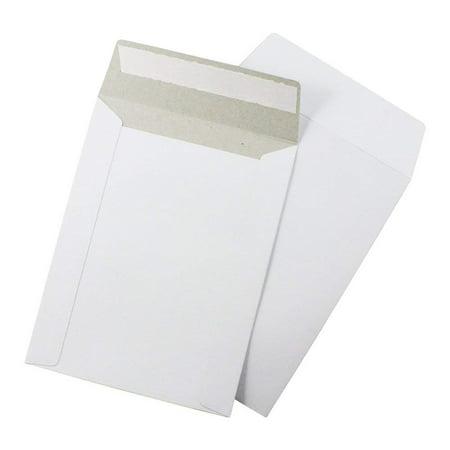 "Stay Flat Rigid Cardboard Mailers 6"" x 6"" with Tear Tab-28 pt. White Kraft Self-Sealing Adhesive Strip (Pack of 200)"