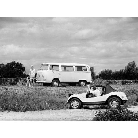 1971 VW camper van and Beach Buggy, (c1971?) Print Wall (New Vw T5 Camper Vans For Sale)